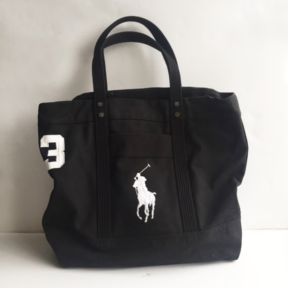 POLO RALPH LAUREN Big Pony Beach Bag, Black. M 5b3796018ad2f97eb0fec4b4 2d5324f21d